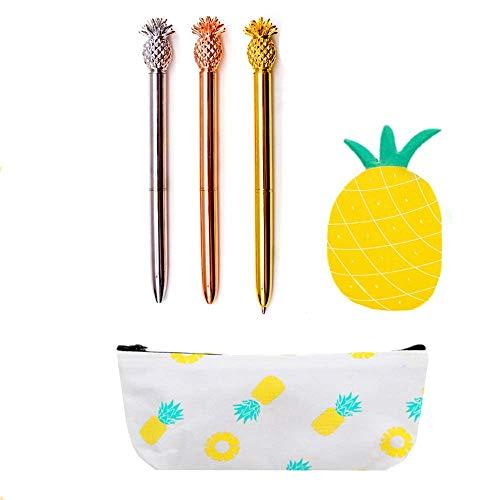 JeVenis Set mit 5 Ananas-Kugelschreibern mit Ananas-Stiftbeutel, im Stil von Ananas-Notizen, Aufkleber für Büro, Schule, Geschenk