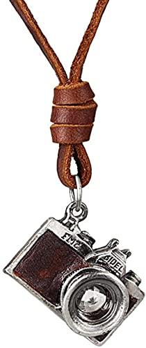 NC110 Collar con Colgante de Cuerda de Cuero Artificial para Hombres y Mujeres, aleación de Moda, Collar de Personalidad, joyería-marrón YUAHJIGE