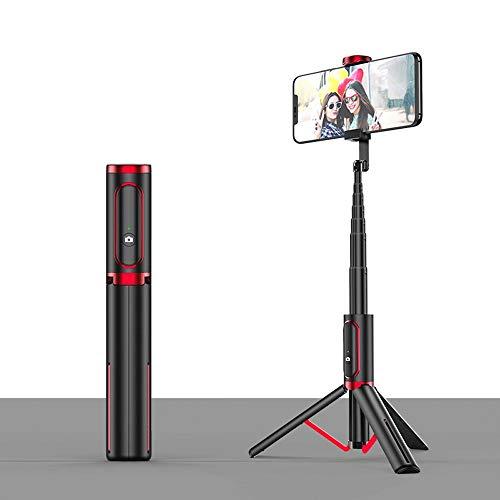 Qeepenl Teléfono móvil Selfie palillo de la cámara del trípode Artefacto Bluetooth Mini One Plus de Control Remoto inalámbrico en Vivo Soporte Selfie Palo (Color : Rojo)