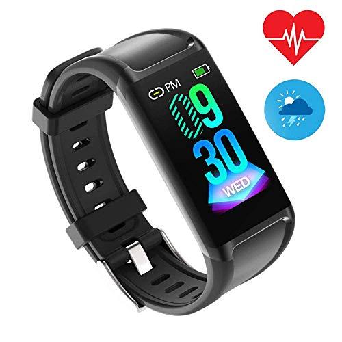 Mengen88 Bluetooth Smart Fitness Tracker met bloeddrukmeter, hartslagmeter, stappenteller, slaapbewaking, zitherinnering, sporthorloges, zwart