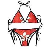 China Hongkong Flag Womens Sexy Bikini Set Beach Swimwear Adjustable Swimsuit 2 Piece