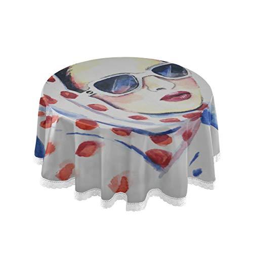 N\A Runder Tischbezug Protector Cool Hip Hop Girl Gestreiftes T-Shirt Hut Sonnenbrille Patio Tischdecke 60 Zoll Spitze Nähen Makramee Polyester Dekoration