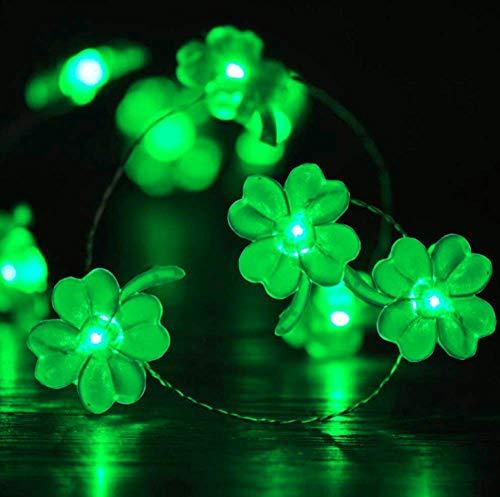 JIANMIN Decoraciones para el hogar Luces de cadena de hadas, 3M 30LED Pascua Decoración Cadena de luces de alambre de cobre Cadena con pilas de cuatro hojas de cadena