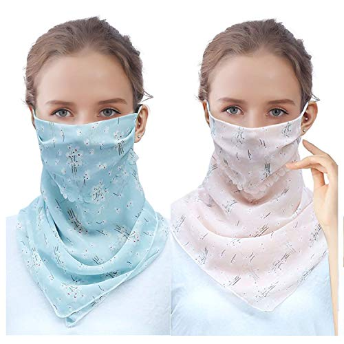 2 Pack Women Sun Mask Chiffon Neck Gaiter Sun Proof Face Mask Colorful...