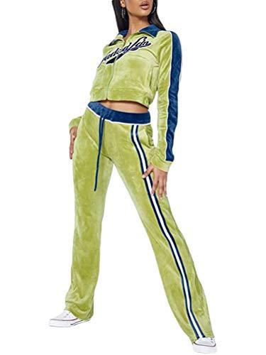 ORANDESIGNE Tuta Sportiva Donna Y2K Completi Felpa Tuta Sportive da Donna Giacche A Maniche Lunghe 2 Pezzi Giacca con Cerniera + Pantaloni Jogging Verde S