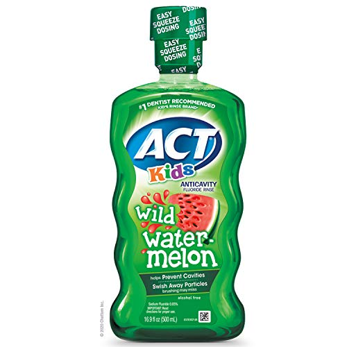 ACT Kids Anticavity Fluoride Rinse Wild Watermelon, Accurate Dosing Cup, Alcohol Free, Original Version, 16.9 Fl Oz