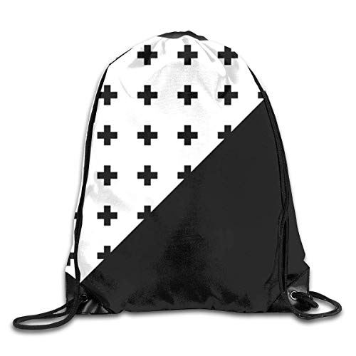 Lawenp Plegable Memphis Pattern Drawstring Bag, Sports Cinch Sacks String Drawstring Backpack for Picnic Gym Sport Beach Yoga