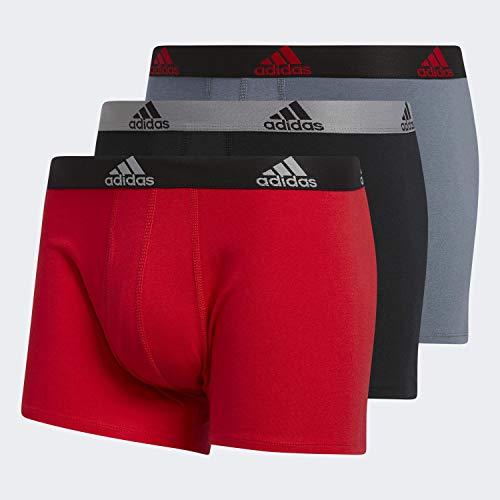 adidas Herren Stretch Baumwolle Trunk Unterwäsche (3er-Pack), Scharlachrot / Schwarz / Grau Onix / Schwarz, Größe XL