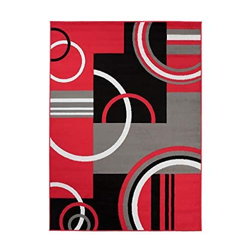 TAPISO Maya - Alfombra Moderna para salón de Color Rojo geométrico Abstracto de Pelo Corto, 160 x 220 cm