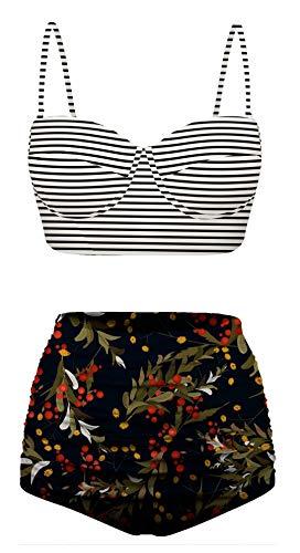 Angerella Womens Floral Swimsuits Stripe Bikini Set High Waisted Bathing Suit Plus Size Swimwear Multicolored,XL