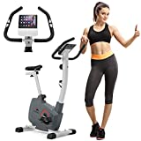 AECOJOY Upright Exercise Bike with Performance Monitor & Pad Holder, 8-Level Magnetic Stationary Bike for Indoor Home Gym Cardio Workout 280 LBS Capacity