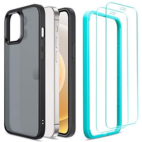 ESR Cover e 2 Pezzi Pellicola Compatibile con iPhone 6.1 Pollice 12 e 12 PRO, Serie Ibrida e Vetro Temperato, Opaco e Nero