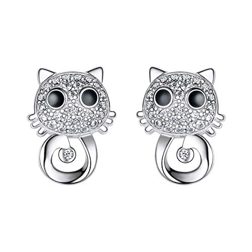 Iced Out Big Eyes Cat Stud Earrings, Exquisite oxeye Cat With Full Cubic Zirconia, Gift For Girls/Women, 925 Sterling Silver Animal Jewellery Lovely Kitty Earring (With Gift Box), SCE6363B