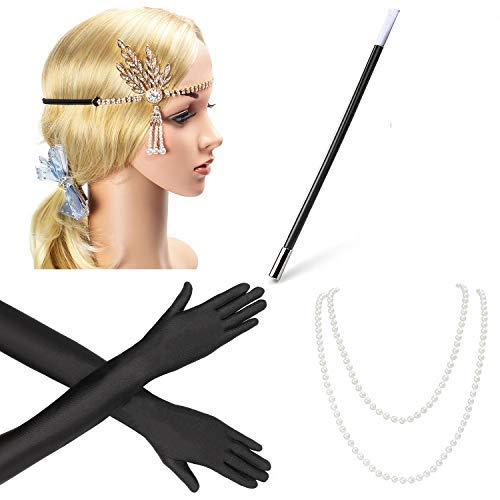 Preisvergleich Produktbild Beelittle 1920er Jahre Zubehör Set Flapper Stirnband,  Halskette,  Handschuhe,  Zigarettenspitze Great Gatsby Zubehör für Frauen (C1)