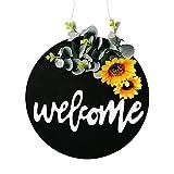 HIAQIMEI Guirnalda de otoño Artificial de Flores Artificiales para Puerta de Entrada con cápsula de algodón, eucalipto y Hojas, decoración de Guirnalda de Puerta