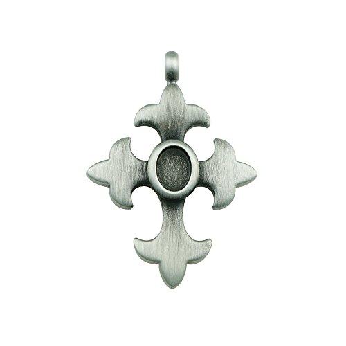 Bead House kruis hanger met 8 x 6 ° mm, gepolijst, verzilverd