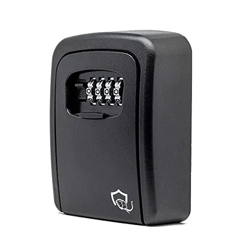 JQD© Schlüsseltresor mit Zahlenschloss für die Wandmontage - Wetterfeste Schlüsselbox mit 4-stelligem Zahlencode für dein Haus, Garage & Büro - Schlüsselsafe außen 110x85x40mm in Schwarz