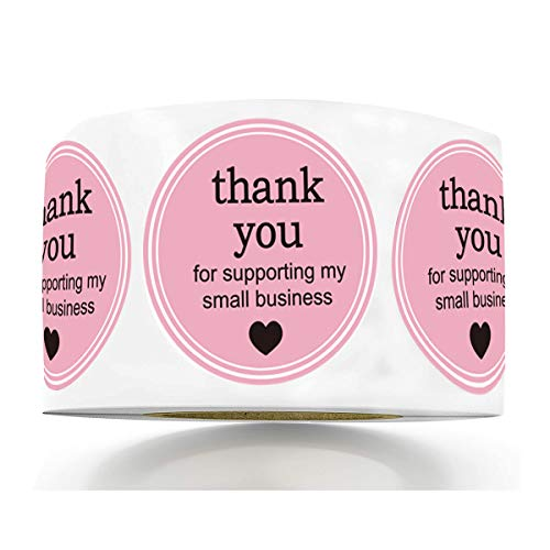 """2"""" Round Thank You for Supporting My Small Business Sticker Labels with Hearts - Printed Pink/White Small Business Thank You Stickers 500 Thank You Labels Per Roll"""
