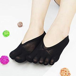 MEIJING, MEIJING Medias de compresión ortopédicas para mujer, con dedos de los pies, ultra bajas, forro de gel, transpirables, para estudiantes, mujeres, ultrafinas, ultra cómodas, cinco dedos