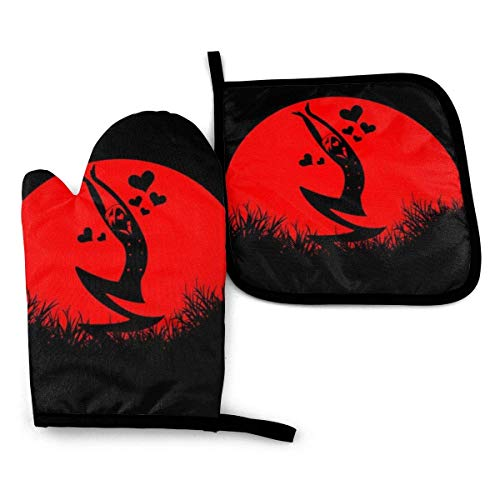 Nonebrand One Piece Sanji Love Sunset -Oven Mitts and Pot Holders Heat Resistant Kitchen Bake Cooking Gloves
