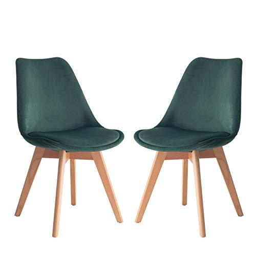 Nicemoods 2 x Esszimmerstühle 2-er Set Beinen aus Massiv-Holz Buche skandinavisches Retro Design Gepolsterter Stuhl Küchenstuhl Holz(Dunkelgrün)