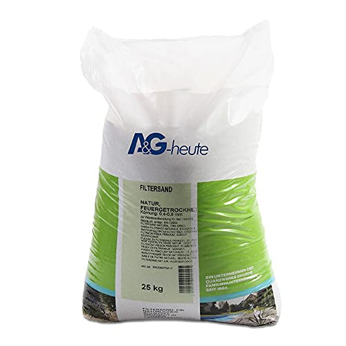 A&G-heute Min2C 25kg Filtersand Körnung 0.4-0.8mm Poolfilter Teichfilter Quarzsand für Sandfilteranlagen Feuergetrocknet