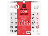 Finocam - Calendario Neutro de pared 2021 Números grandes Español