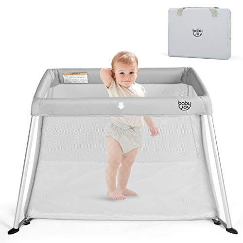 BABY JOY Baby Playpen, Travel Crib - Lightweight Portable Foldable, Easy to Pack and Install with Comfortable Mattress and Oxford Carry Bag for Infant Toddler Newborn, Gray