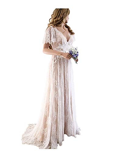 Aoturui Vestido de novia bohemio con espalda descubierta, manga corta, una línea, vestido de novia, romántico, bohemio, con ojal en la parte trasera, vestido de novia con mangas con capucha. Style1 46