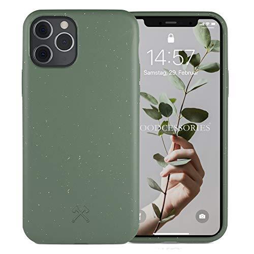 Woodcessories - Antibakterielle Bio Hülle kompatibel mit iPhone 11 Pro Max - Kompostierbar, nachhaltig - Nacht Grün