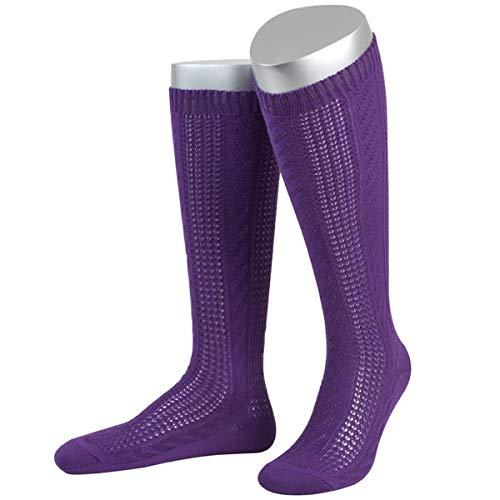 JD Damen Trachtensocken Trachtenstrümpfe Zopf Socken, Göße:39-41, Farbe:Lila