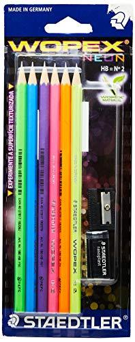 Kit Escolar, Staedtler, Wopex Neon, 180FSBK6LC, 6 Lápis Grafite HB + Borracha + Apontador