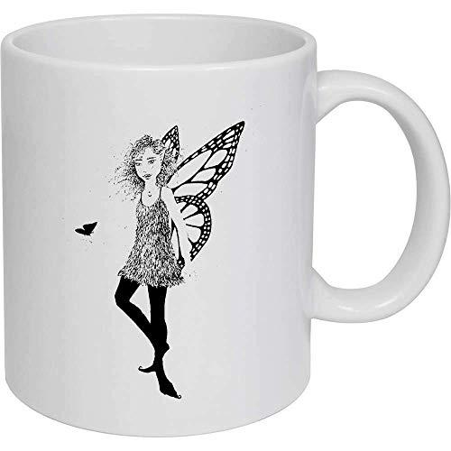 Taza de café, taza de té, diseño de mariposa monarca de hada de cerámica, regalo para mujeres y hombres