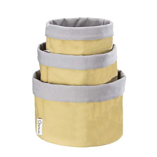 myHodo Aufbewahrungskorb Stoff 3 Stück Set (versch. Größen), 100% Baumwoll-Stofftaschen für Bad, Küche und Wickelkommode, Faltbare Aufbewahrungsbox für Kosmetik, Brot, Obst und Brötchen (Gelb)