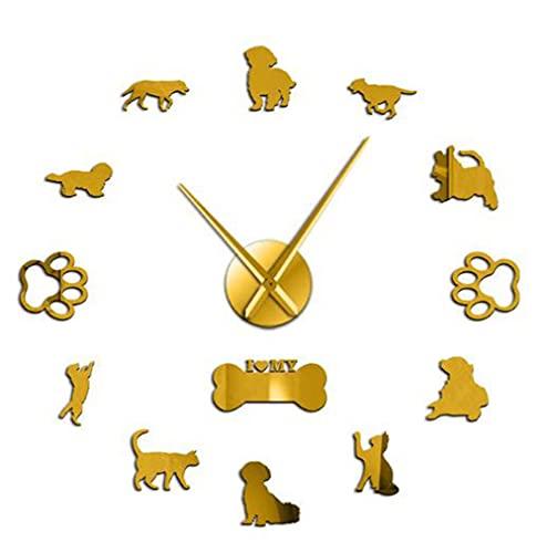 3D Gatos y Perros DIY Pared DIY Decorativo Mute Reloj de Pared Grande Animales Etiqueta de Pared Sin Marco Gigante Ver Mascotas Dueño Regalo-Gold-37 Pulgadas