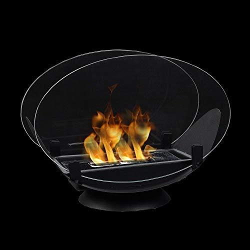 JHY Design Ovaler Tisch-Feuerschüsseltopf mit beidseitigem Glas 32 cm Länge Tragbarer Tischkamin - sauber brennender Bio-Ethanol-Kamin ohne Ventil für Partys im Innenbereich im Freien