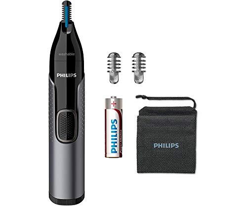 Philips Serie 3000 NT3650/16 - Naricero con tecnología PrecisionTrim, sistema de protección de la piel, 2 peines, funda de viaje y pila incluída