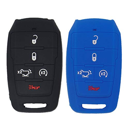 EXUNTECH 2pcs Silicone 5 Buttons Key Fob Remote Shell Cover Pouch Glove Keyless Entry Case for Dodge 2021 2020 2019 Ram 1500 Truck OHT-4882056,Black+Blue