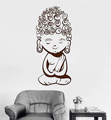 wZUN Tatuajes de Pared de Vinilo Adolescente Lindo Buda meditación Mantra Pegatinas budistas Yoga Pareja Muebles decoración de la Sala 50x110cm