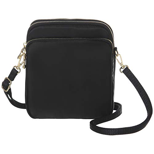 MINICAT RFID Blocking Small Travel Crossbody Purse Nylon Purses and Handbags Crossbody For Women(Black)