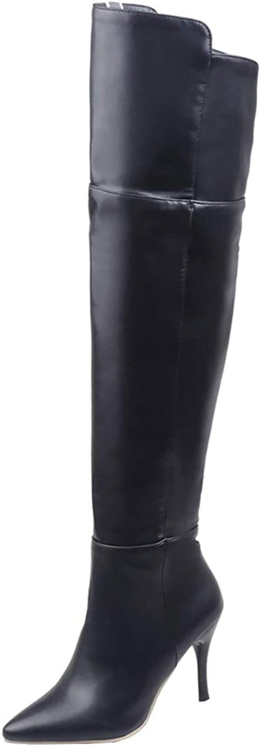 Kikiva Womens High Heel Stiletto Pointed Toe Side Zip Thigh High Boots