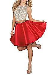 Red 2pc Illusion Beaded Rhinestone Satin Short Dress