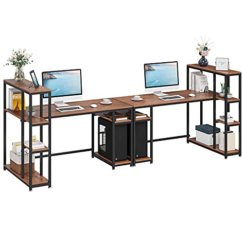 YITAHOME 110 inches Computer Desk, Double Workstation with 4 Tier Storage Shelves, Two People Office Desk with Bookshelf Writing Study Work Table for Home Office, Teak