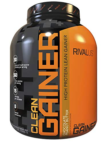 Rivalus Clean Gainer Chocolate Peanut Butter, 5 Pound - Delicious Lean Mass Gainer with Premium Dairy Proteins, Complex Carbohydrates, Quality Lipids, No Banned Substances, Made in USA