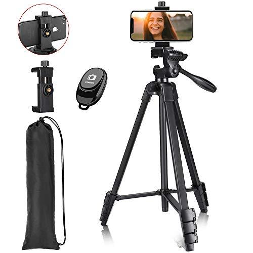 Victiv Trípode Móvil 145cm, Trípode de Teléfono Móvil de Aluminio Ligero con Soporte para Teléfono y Control Remoto Inalámbrico y Bolsa de Transporte para Viajes y Filmación de Video - Negro