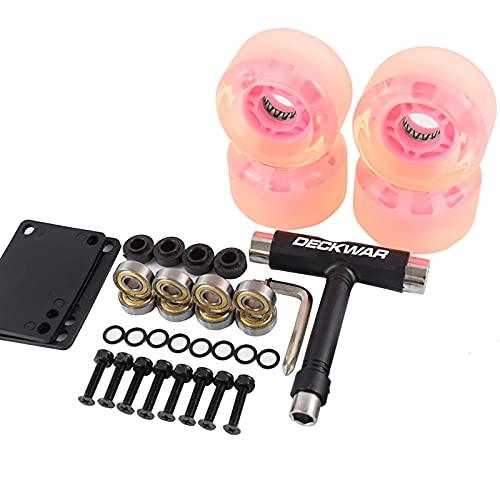 NAJING Ruedas De Skate Fabricadas con 78A Frosted Big Wheel Dureza Que Equilibra El Agarre Y La Velocidad para Un Mejor Patinaje Vertical Y Estilo Libre,Pink