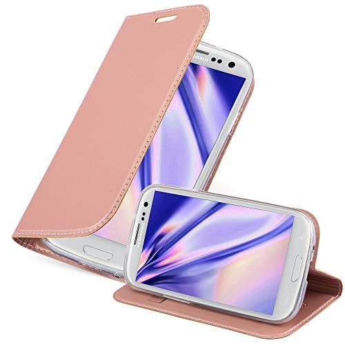 Cadorabo Custodia Libro per Samsung Galaxy S3 / S3 NEO in CLASSY ORO ROSA – con Vani di Carte, Funzione Stand e Chiusura Magnetica – Portafoglio Cover Case Wallet Book Etui Protezione
