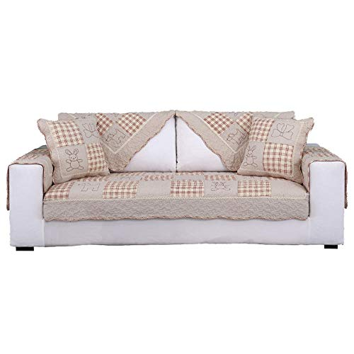 YUTJK 2 Seater Sofa Cover Polyester Anti-Slip Slipcovers Spandex Fabric Sofa Fabric Protector Couch Cover,Children's Cotton Print Sofa Cushion-Pink_90×160cm