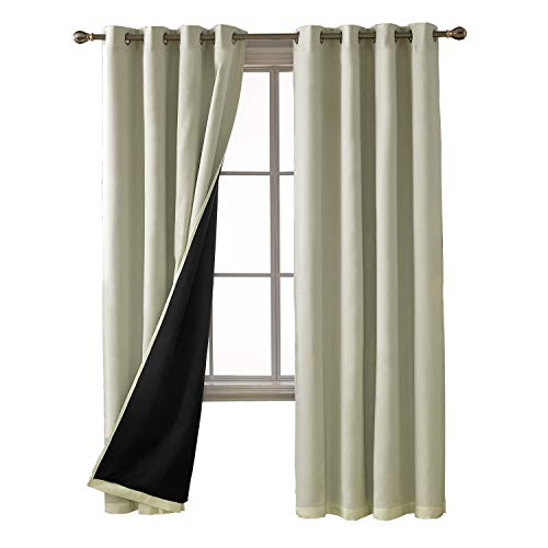 Deconovo Total Blackout Curtains Solid Thermal Insulated Faux Silk Satin Panels Room Darkening Curtains for Living Room 52 x 84 Inch 2 Panels