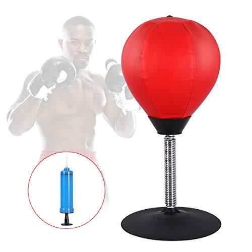 Qdreclod Desktop Punchingball Tisch Boxsack Stress Buster, Freistehender Speedball Boxen mit Inflator Pumpe, Edelstahlständer, Saugnapf zur Reflexdehnung, Trainingsset Ball für Stress Bbbauen Workout